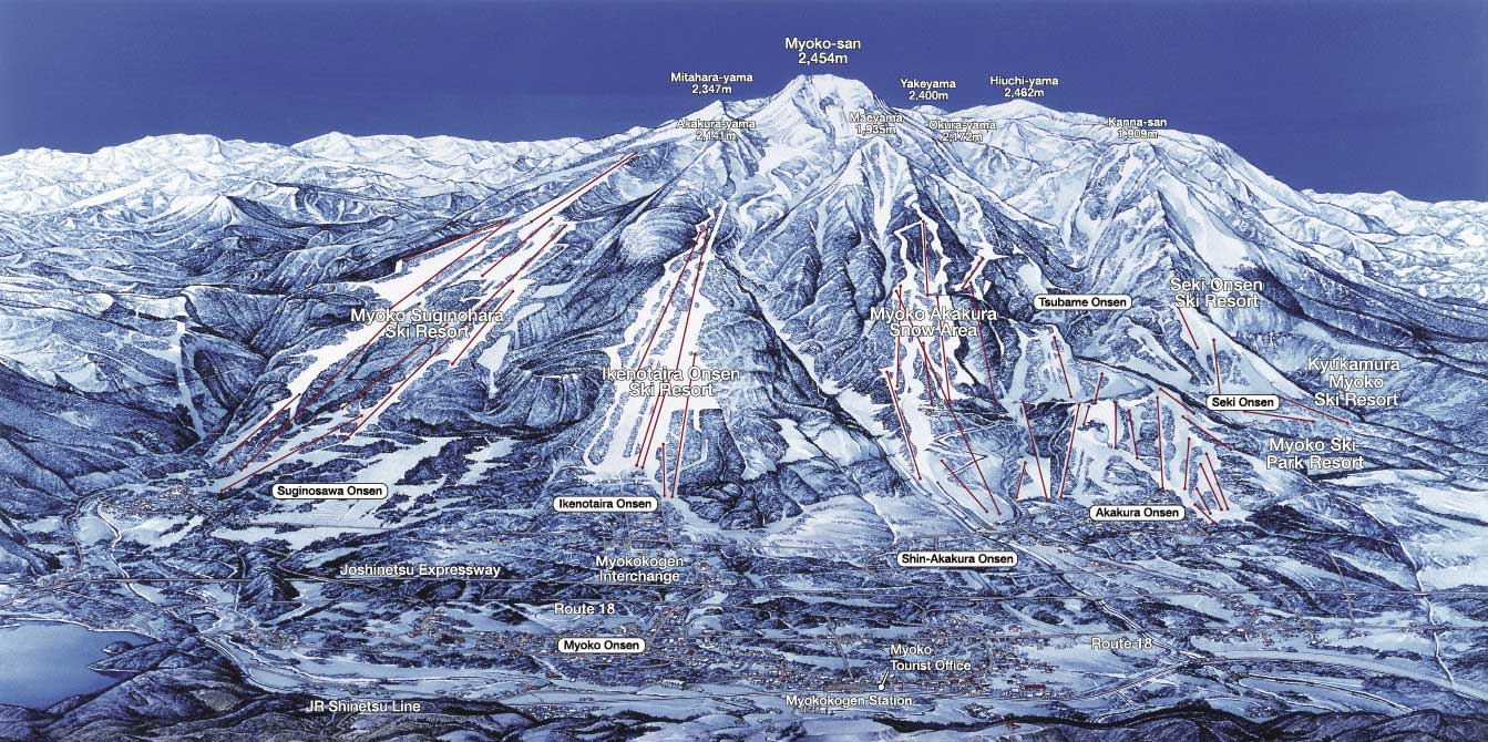 Myoko Ski Resorts Map Guide